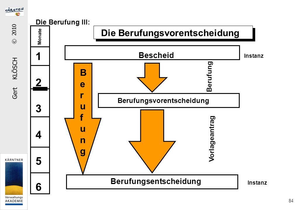 Gert KLÖSCH © 2010 84 Die Berufung III: Die Berufungsvorentscheidung Instanz Bescheid Berufungsentscheidung Instanz BerufungBerufung Berufungsvorentscheidung Berufung Vorlageantrag Monate 123456123456