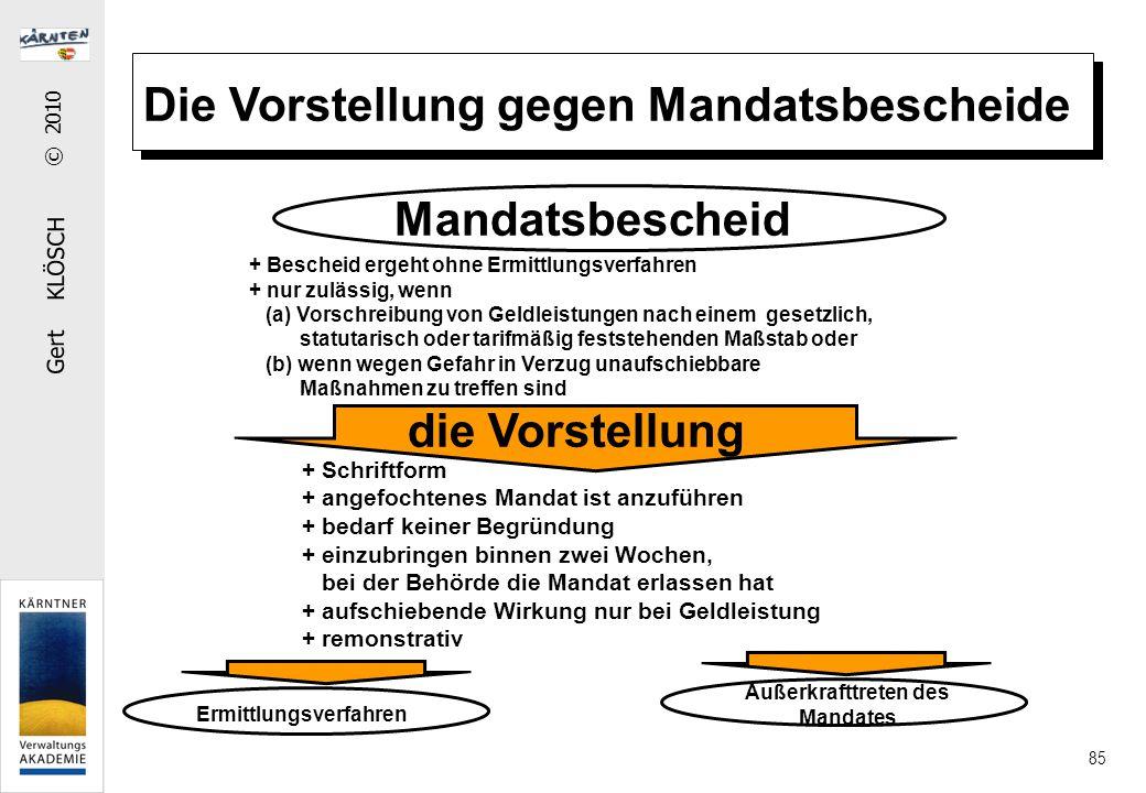 Gert KLÖSCH © 2010 85 Die Vorstellung gegen Mandatsbescheide Mandatsbescheid die Vorstellung + Bescheid ergeht ohne Ermittlungsverfahren + nur zulässi