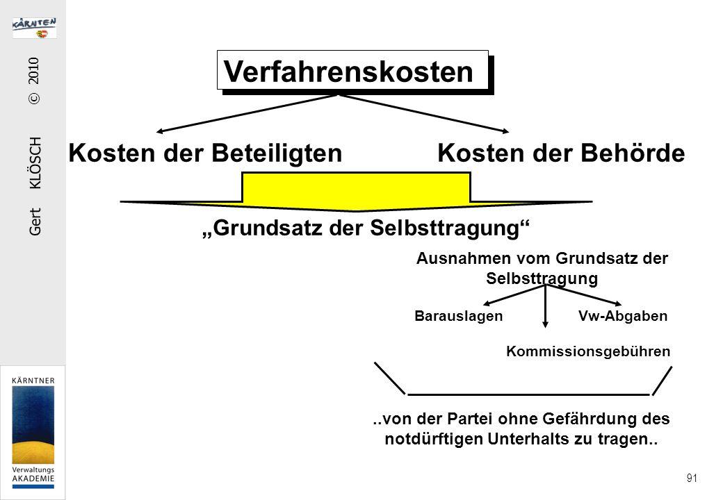 """Gert KLÖSCH © 2010 91 Verfahrenskosten Kosten der Beteiligten Kosten der Behörde """"Grundsatz der Selbsttragung"""" Ausnahmen vom Grundsatz der Selbsttragu"""