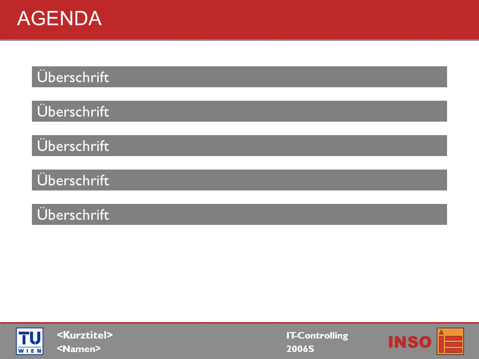 IT-Controlling 2006S INSO AGENDA Überschrift