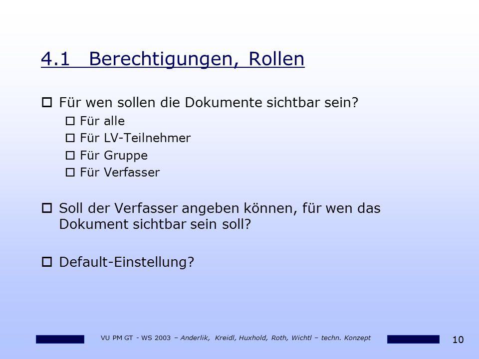10 VU PM GT - WS 2003 – Anderlik, Kreidl, Huxhold, Roth, Wichtl – techn. Konzept 4.1Berechtigungen, Rollen oFür wen sollen die Dokumente sichtbar sein