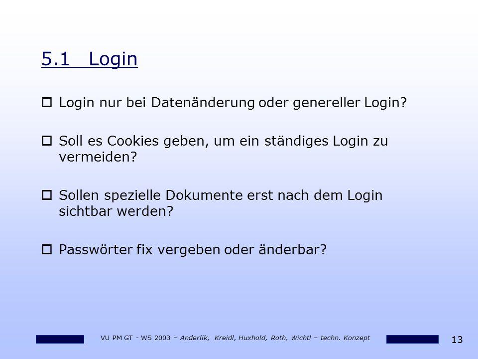 13 VU PM GT - WS 2003 – Anderlik, Kreidl, Huxhold, Roth, Wichtl – techn. Konzept 5.1Login oLogin nur bei Datenänderung oder genereller Login? oSoll es