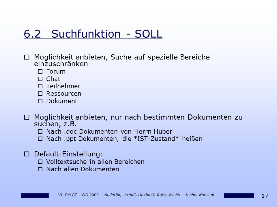 17 VU PM GT - WS 2003 – Anderlik, Kreidl, Huxhold, Roth, Wichtl – techn. Konzept 6.2Suchfunktion - SOLL oMöglichkeit anbieten, Suche auf spezielle Ber