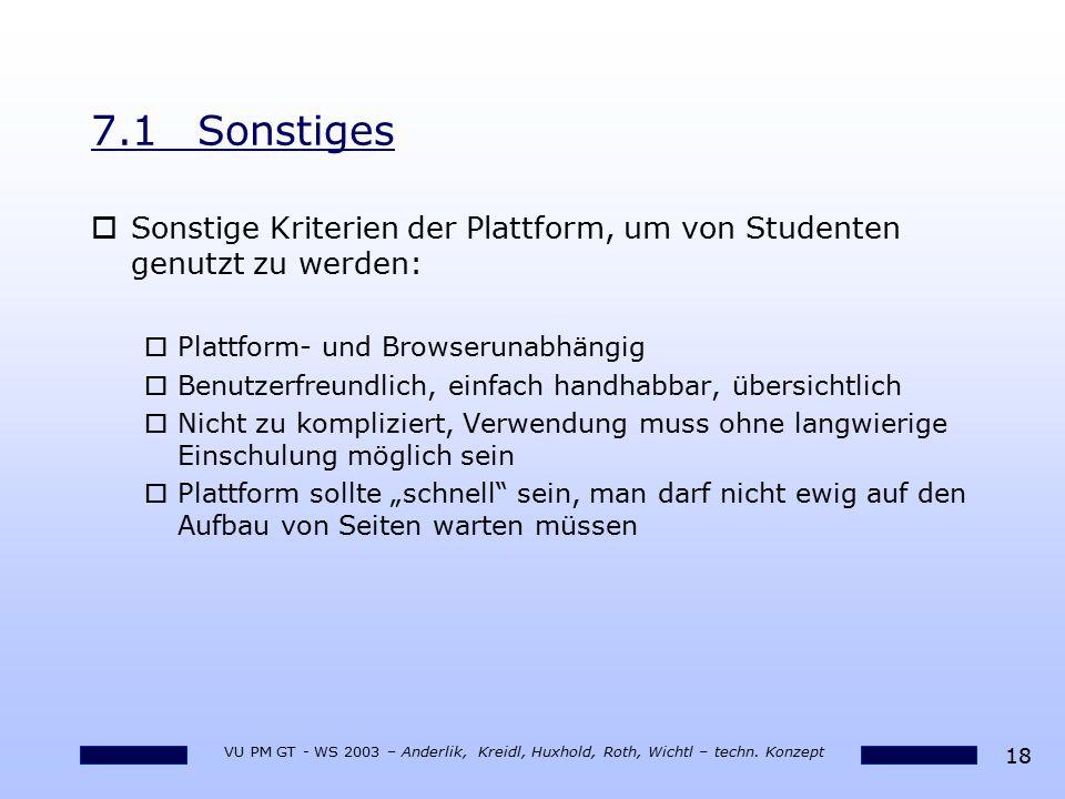 18 VU PM GT - WS 2003 – Anderlik, Kreidl, Huxhold, Roth, Wichtl – techn. Konzept 7.1Sonstiges oSonstige Kriterien der Plattform, um von Studenten genu