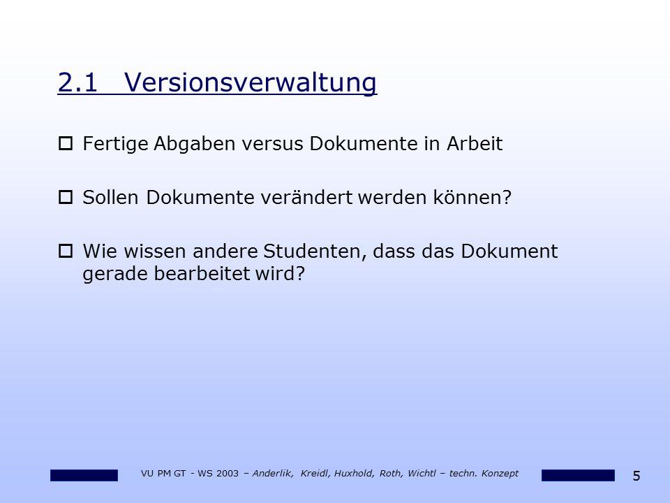 5 VU PM GT - WS 2003 – Anderlik, Kreidl, Huxhold, Roth, Wichtl – techn. Konzept 2.1Versionsverwaltung oFertige Abgaben versus Dokumente in Arbeit oSol