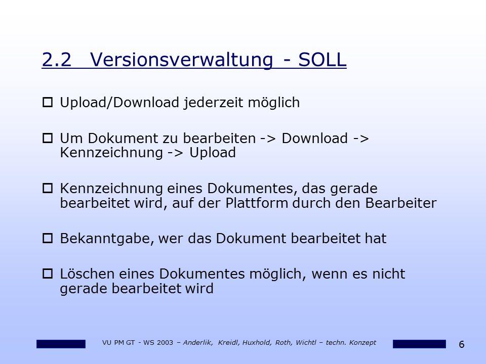 6 VU PM GT - WS 2003 – Anderlik, Kreidl, Huxhold, Roth, Wichtl – techn. Konzept 2.2Versionsverwaltung - SOLL oUpload/Download jederzeit möglich oUm Do