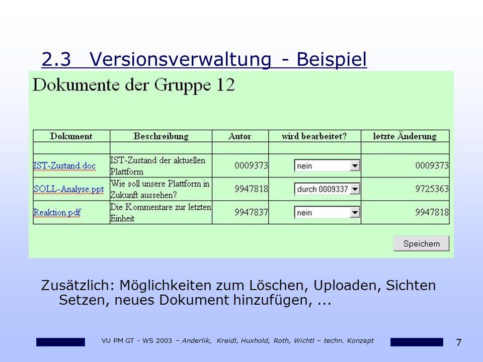 7 VU PM GT - WS 2003 – Anderlik, Kreidl, Huxhold, Roth, Wichtl – techn. Konzept 2.3Versionsverwaltung - Beispiel Zusätzlich: Möglichkeiten zum Löschen