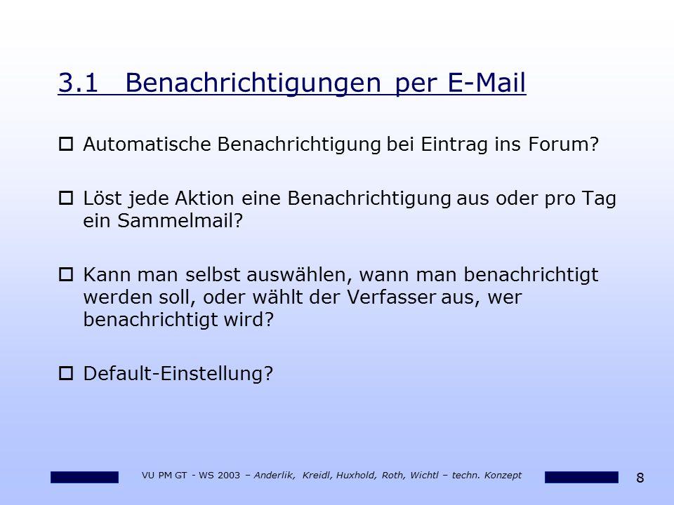 8 VU PM GT - WS 2003 – Anderlik, Kreidl, Huxhold, Roth, Wichtl – techn. Konzept 3.1Benachrichtigungen per E-Mail oAutomatische Benachrichtigung bei Ei