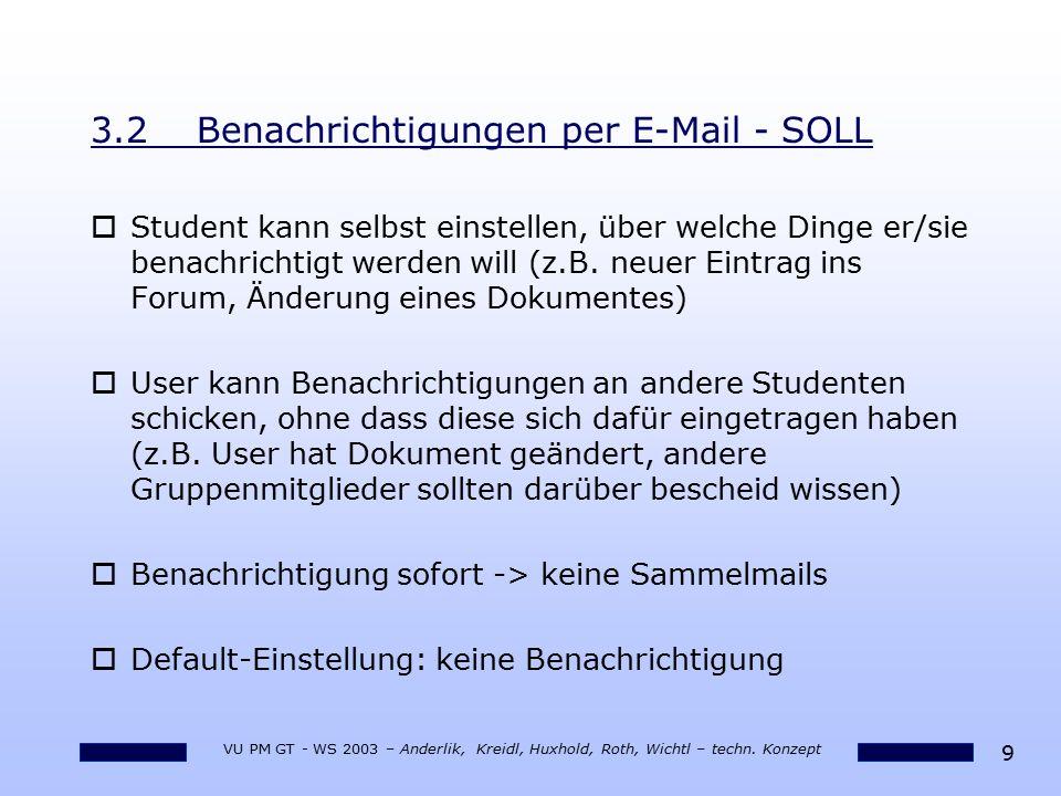 9 VU PM GT - WS 2003 – Anderlik, Kreidl, Huxhold, Roth, Wichtl – techn. Konzept 3.2Benachrichtigungen per E-Mail - SOLL oStudent kann selbst einstelle