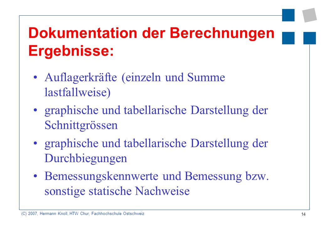 14 (C) 2007, Hermann Knoll, HTW Chur, Fachhochschule Ostschweiz Dokumentation der Berechnungen Ergebnisse: Auflagerkräfte (einzeln und Summe lastfallw