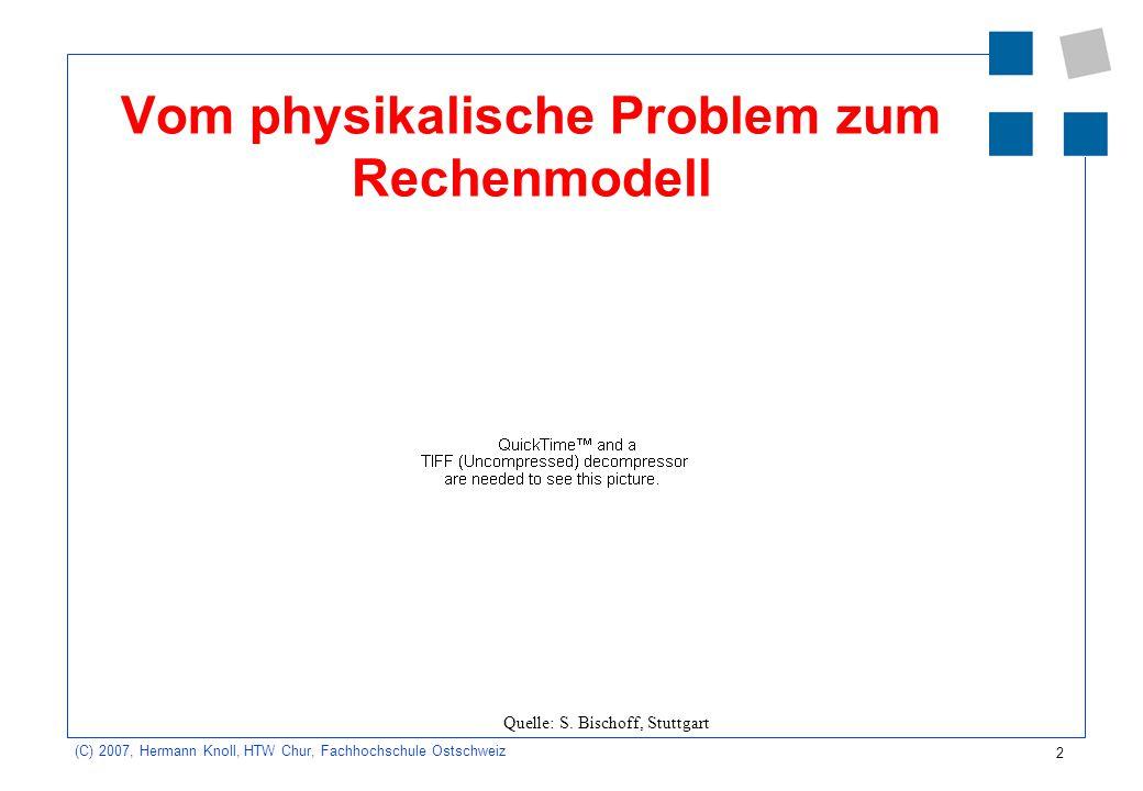 3 (C) 2007, Hermann Knoll, HTW Chur, Fachhochschule Ostschweiz FE-Methode Systemzerlegung und Zusammenbau Element- und Systemsteifigkeiten Lasten und Randbedingungen Lösung des Gleichungssystems und Rückrechnung