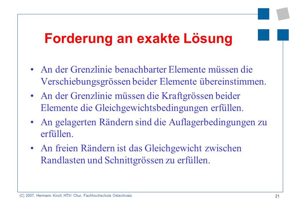 21 (C) 2007, Hermann Knoll, HTW Chur, Fachhochschule Ostschweiz Forderung an exakte Lösung An der Grenzlinie benachbarter Elemente müssen die Verschie