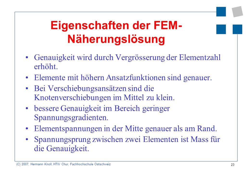 23 (C) 2007, Hermann Knoll, HTW Chur, Fachhochschule Ostschweiz Eigenschaften der FEM- Näherungslösung Genauigkeit wird durch Vergrösserung der Elemen