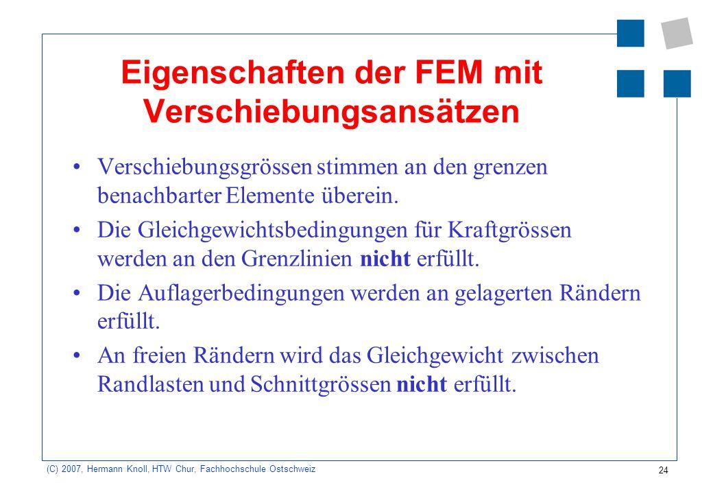 24 (C) 2007, Hermann Knoll, HTW Chur, Fachhochschule Ostschweiz Eigenschaften der FEM mit Verschiebungsansätzen Verschiebungsgrössen stimmen an den gr
