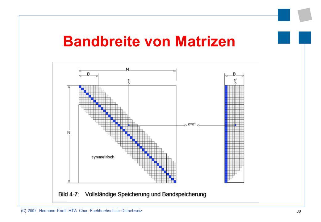 30 (C) 2007, Hermann Knoll, HTW Chur, Fachhochschule Ostschweiz Bandbreite von Matrizen