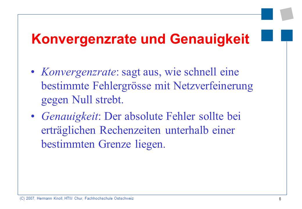 8 (C) 2007, Hermann Knoll, HTW Chur, Fachhochschule Ostschweiz Konvergenzrate und Genauigkeit Konvergenzrate: sagt aus, wie schnell eine bestimmte Feh