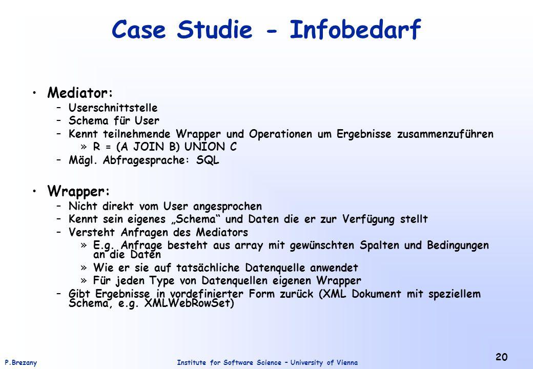 Institute for Software Science – University of ViennaP.Brezany 20 Case Studie - Infobedarf Mediator: –Userschnittstelle –Schema für User –Kennt teilne