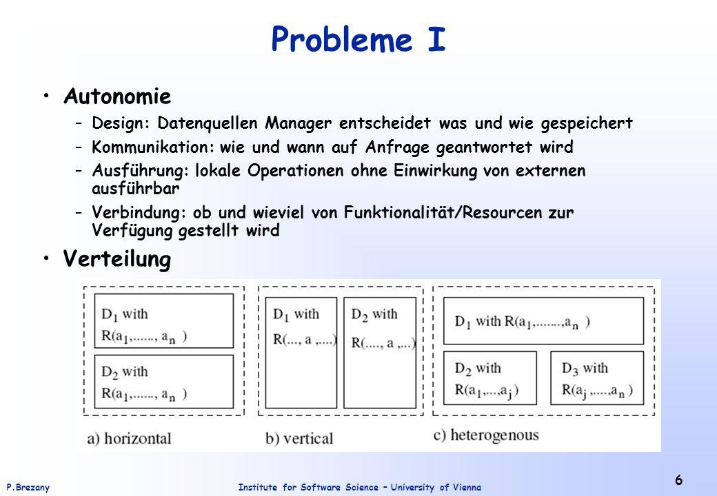Institute for Software Science – University of ViennaP.Brezany 6 Probleme I Autonomie –Design: Datenquellen Manager entscheidet was und wie gespeicher