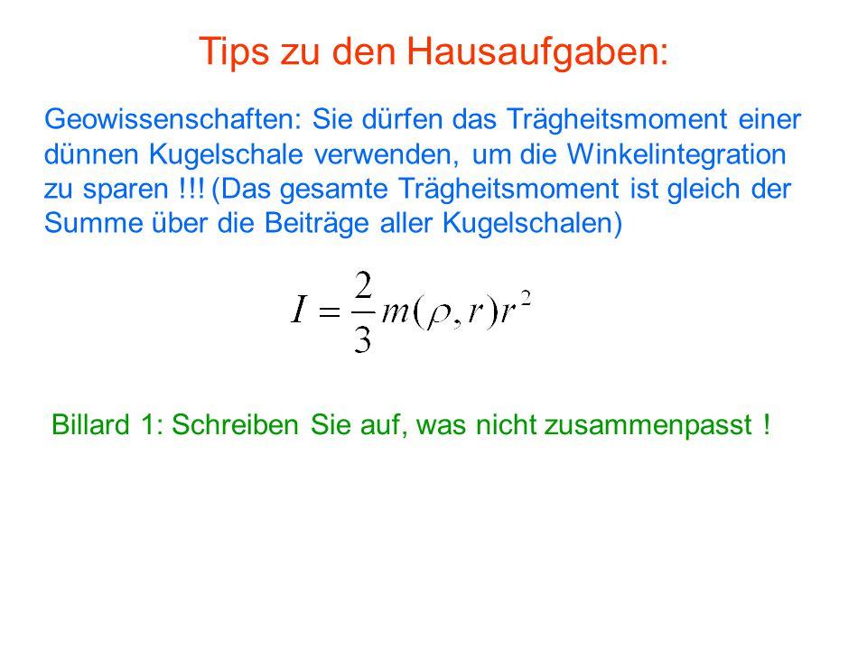 Tips zu den Hausaufgaben: Geowissenschaften: Sie dürfen das Trägheitsmoment einer dünnen Kugelschale verwenden, um die Winkelintegration zu sparen !!.