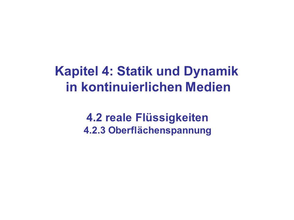 Kapitel 4: Statik und Dynamik in kontinuierlichen Medien 4.2 reale Flüssigkeiten 4.2.3 Oberflächenspannung