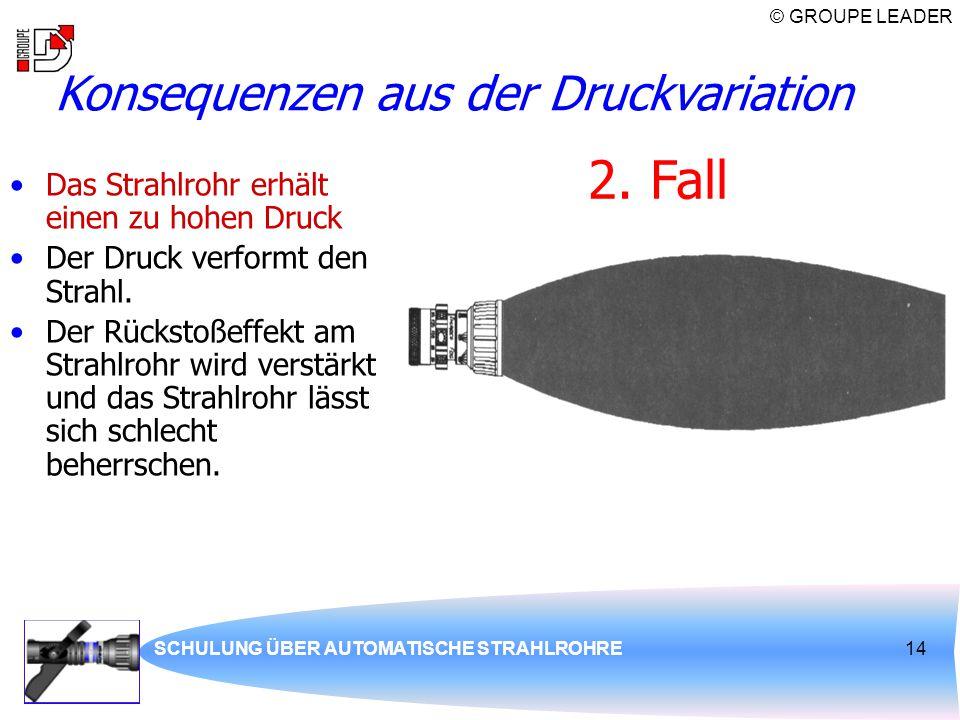 © GROUPE LEADER SCHULUNG ÜBER AUTOMATISCHE STRAHLROHRE14 Das Strahlrohr erhält einen zu hohen Druck Der Druck verformt den Strahl. Der Rückstoßeffekt
