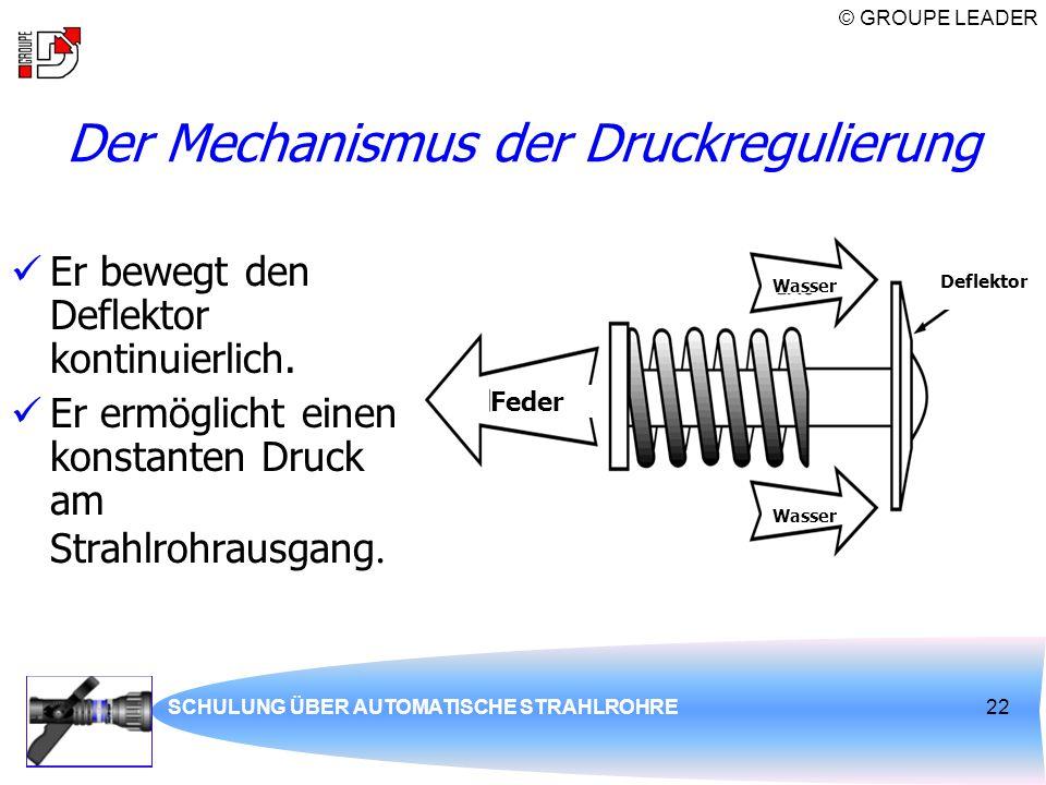 © GROUPE LEADER SCHULUNG ÜBER AUTOMATISCHE STRAHLROHRE22 Der Mechanismus der Druckregulierung Er bewegt den Deflektor kontinuierlich. Er ermöglicht ei