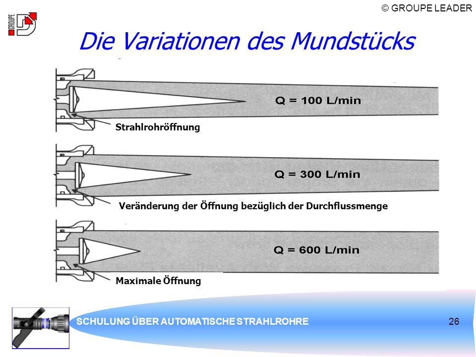 © GROUPE LEADER SCHULUNG ÜBER AUTOMATISCHE STRAHLROHRE26 Die Variationen des Mundstücks Maximale Öffnung Strahlrohröffnung Veränderung der Öffnung bez