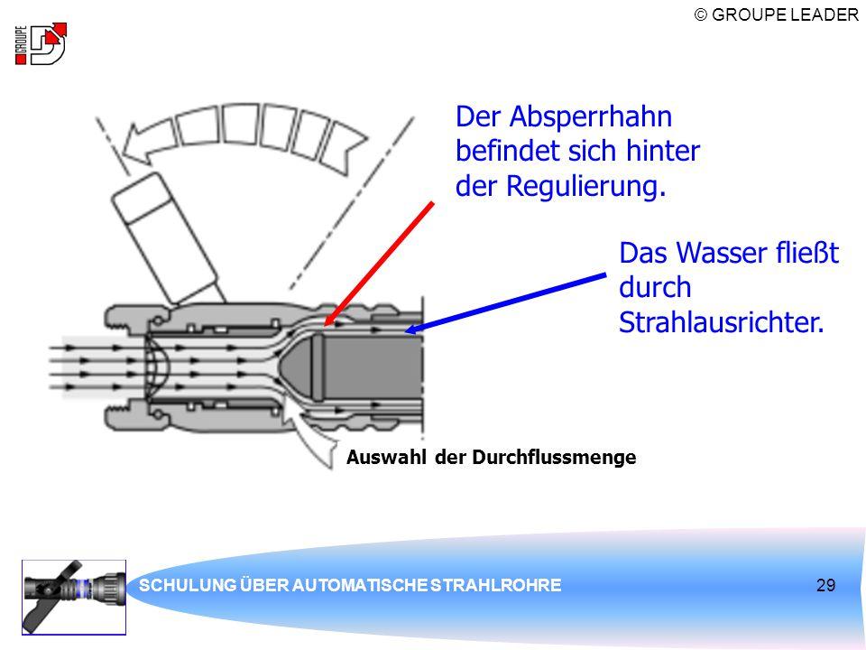 © GROUPE LEADER SCHULUNG ÜBER AUTOMATISCHE STRAHLROHRE29 Der Absperrhahn befindet sich hinter der Regulierung. Das Wasser fließt durch Strahlausrichte