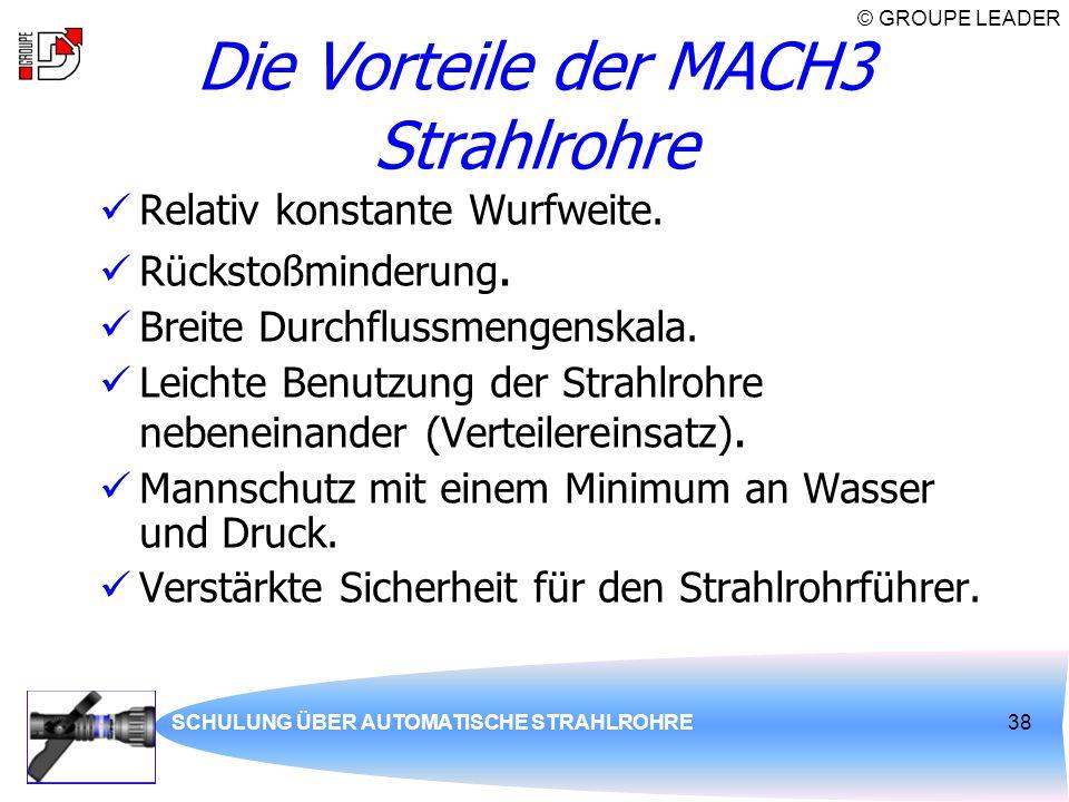 © GROUPE LEADER SCHULUNG ÜBER AUTOMATISCHE STRAHLROHRE38 Die Vorteile der MACH3 Strahlrohre Relativ konstante Wurfweite. Rückstoßminderung. Breite Dur
