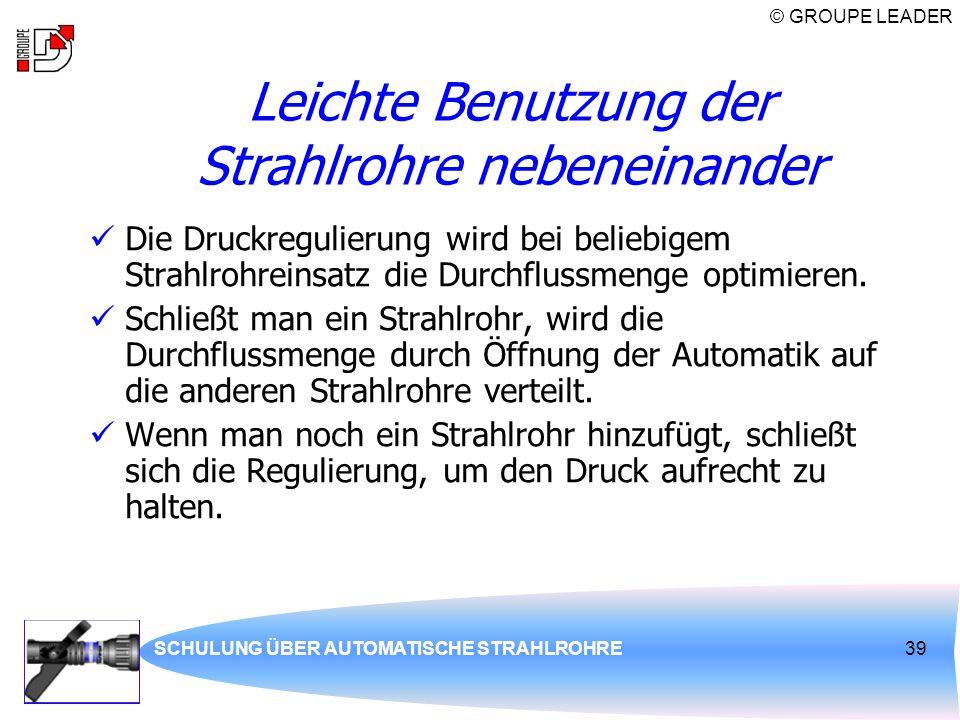 © GROUPE LEADER SCHULUNG ÜBER AUTOMATISCHE STRAHLROHRE39 Leichte Benutzung der Strahlrohre nebeneinander Die Druckregulierung wird bei beliebigem Stra
