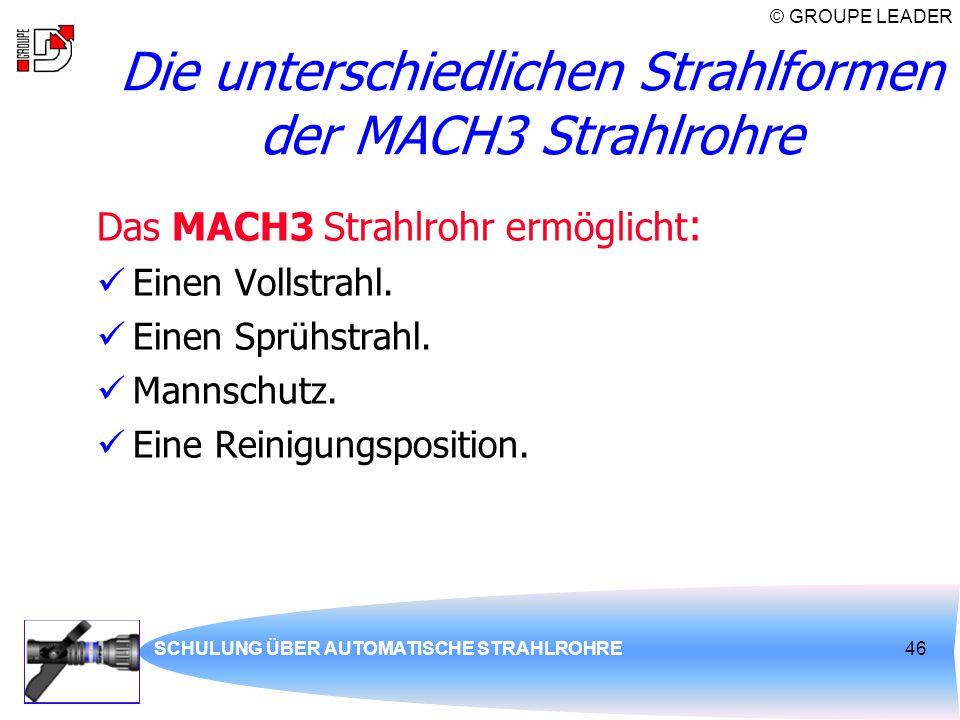© GROUPE LEADER SCHULUNG ÜBER AUTOMATISCHE STRAHLROHRE46 Die unterschiedlichen Strahlformen der MACH3 Strahlrohre Das MACH3 Strahlrohr ermöglicht : Ei