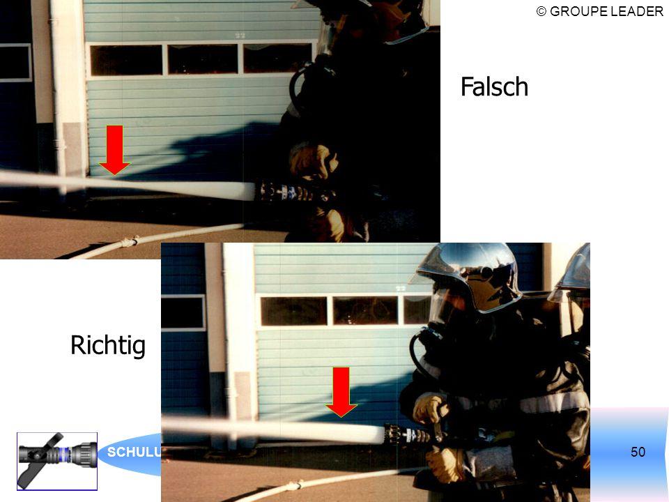 © GROUPE LEADER SCHULUNG ÜBER AUTOMATISCHE STRAHLROHRE50 Falsch Richtig