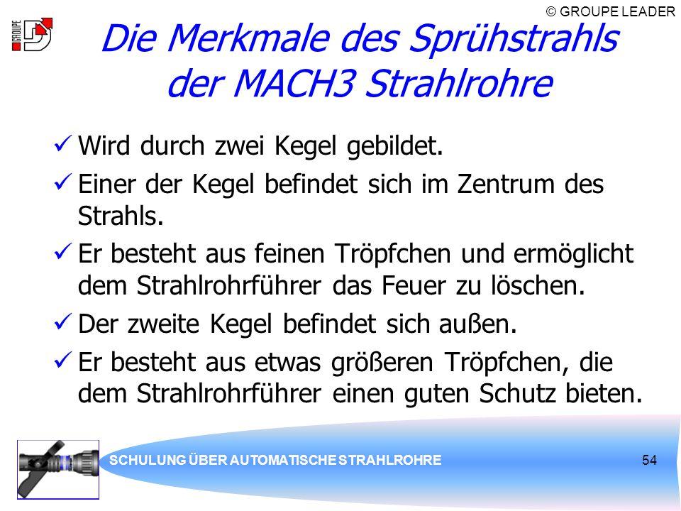 © GROUPE LEADER SCHULUNG ÜBER AUTOMATISCHE STRAHLROHRE54 Die Merkmale des Sprühstrahls der MACH3 Strahlrohre Wird durch zwei Kegel gebildet. Einer der