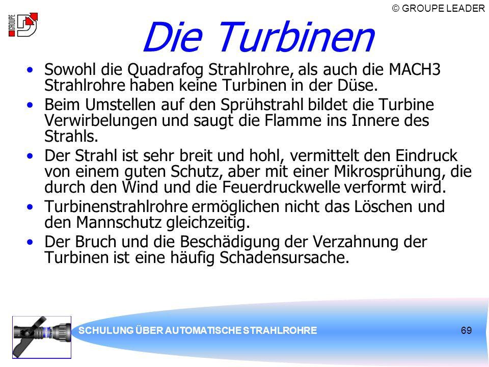 © GROUPE LEADER SCHULUNG ÜBER AUTOMATISCHE STRAHLROHRE69 Die Turbinen Sowohl die Quadrafog Strahlrohre, als auch die MACH3 Strahlrohre haben keine Tur