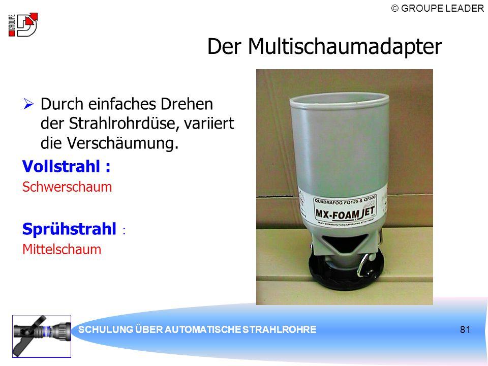 © GROUPE LEADER SCHULUNG ÜBER AUTOMATISCHE STRAHLROHRE81 Der Multischaumadapter  Durch einfaches Drehen der Strahlrohrdüse, variiert die Verschäumung