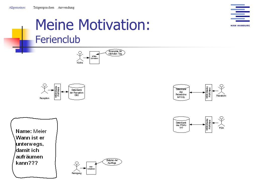 Meine Motivation: Ferienclub AllgemeinesTrägersprachen Anwendung