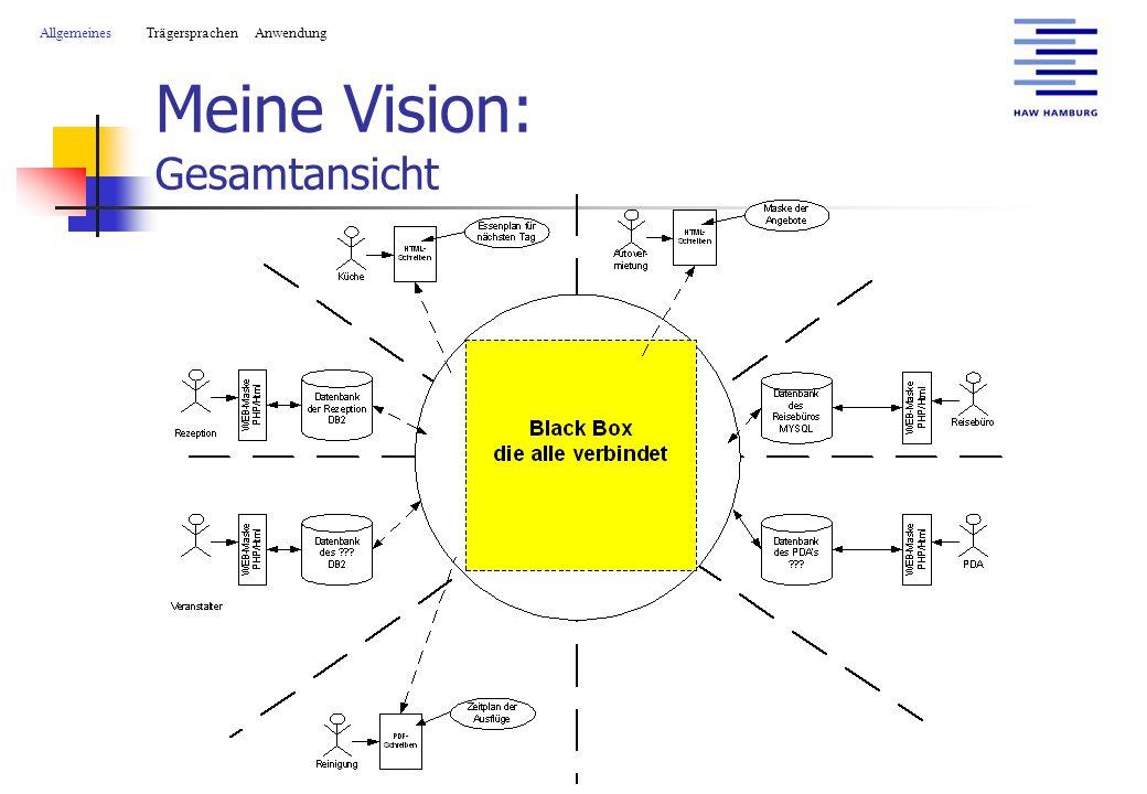 Meine Vision: Gesamtansicht AllgemeinesTrägersprachen Anwendung