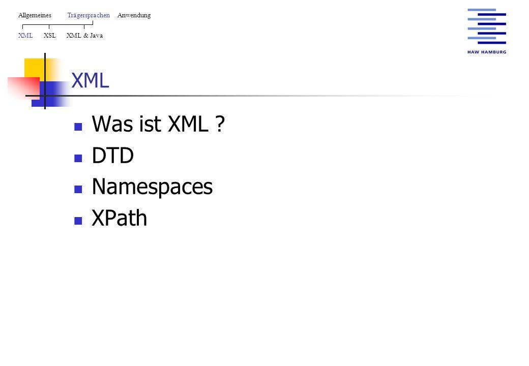 XML Was ist XML ? DTD Namespaces XPath AllgemeinesTrägersprachen Anwendung XML XSL XML & Java