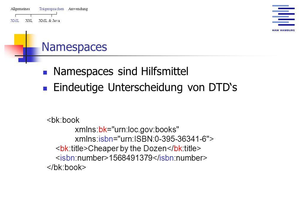 Namespaces Namespaces sind Hilfsmittel Eindeutige Unterscheidung von DTD's AllgemeinesTrägersprachen Anwendung XML XSL XML & Java Cheaper by the Dozen 1568491379