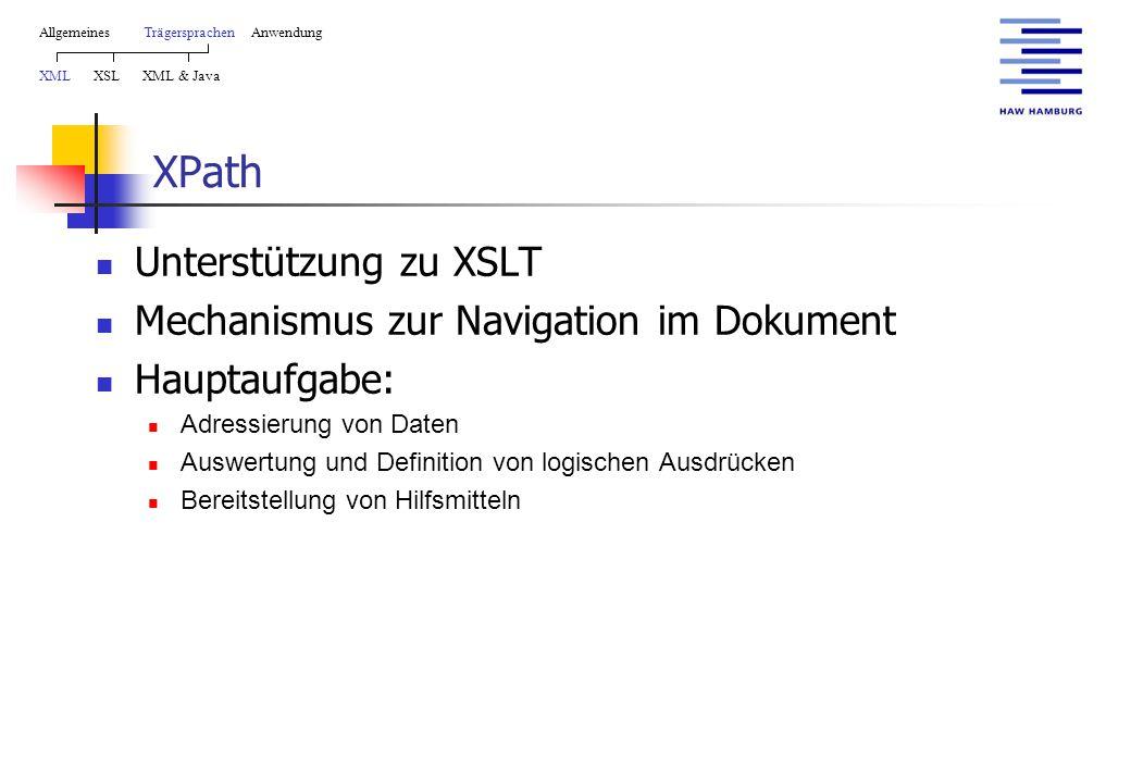 XPath Unterstützung zu XSLT Mechanismus zur Navigation im Dokument Hauptaufgabe: Adressierung von Daten Auswertung und Definition von logischen Ausdrücken Bereitstellung von Hilfsmitteln AllgemeinesTrägersprachen Anwendung XML XSL XML & Java