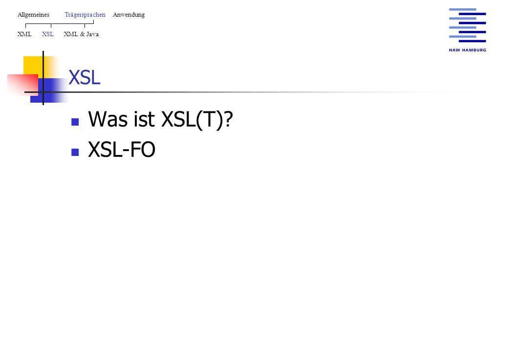 XSL Was ist XSL(T)? XSL-FO AllgemeinesTrägersprachen Anwendung XML XSL XML & Java