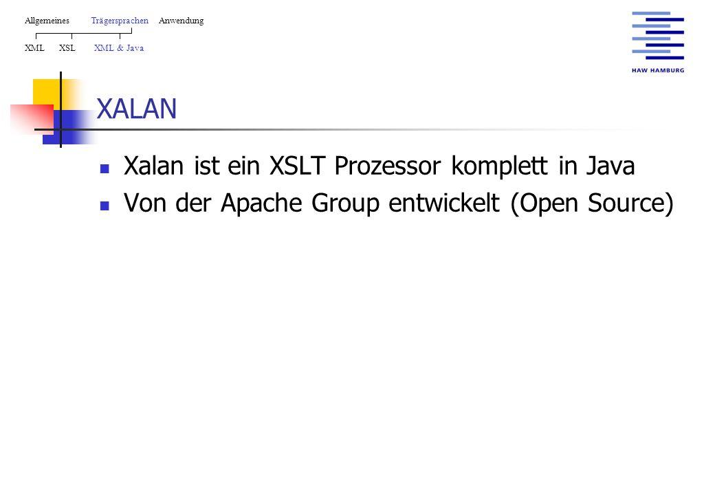 XALAN AllgemeinesTrägersprachen Anwendung XML XSL XML & Java Xalan ist ein XSLT Prozessor komplett in Java Von der Apache Group entwickelt (Open Source)