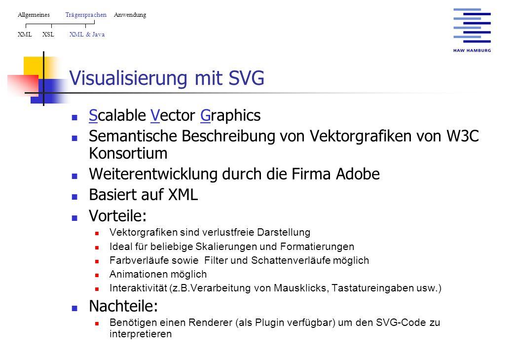 Visualisierung mit SVG Scalable Vector Graphics Semantische Beschreibung von Vektorgrafiken von W3C Konsortium Weiterentwicklung durch die Firma Adobe Basiert auf XML Vorteile: Vektorgrafiken sind verlustfreie Darstellung Ideal für beliebige Skalierungen und Formatierungen Farbverläufe sowie Filter und Schattenverläufe möglich Animationen möglich Interaktivität (z.B.Verarbeitung von Mausklicks, Tastatureingaben usw.) Nachteile: Benötigen einen Renderer (als Plugin verfügbar) um den SVG-Code zu interpretieren AllgemeinesTrägersprachen Anwendung XML XSL XML & Java