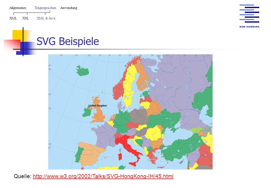 SVG Beispiele AllgemeinesTrägersprachen Anwendung XML XSL XML & Java Quelle: http://www.w3.org/2002/Talks/SVG-HongKong-IH/45.htmlhttp://www.w3.org/2002/Talks/SVG-HongKong-IH/45.html