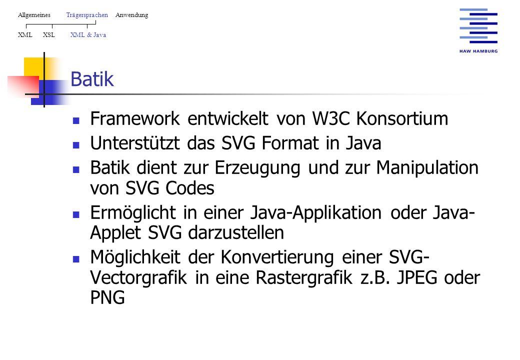 Batik Framework entwickelt von W3C Konsortium Unterstützt das SVG Format in Java Batik dient zur Erzeugung und zur Manipulation von SVG Codes Ermöglicht in einer Java-Applikation oder Java- Applet SVG darzustellen Möglichkeit der Konvertierung einer SVG- Vectorgrafik in eine Rastergrafik z.B.