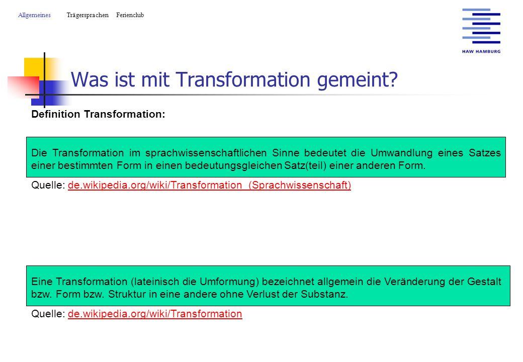 Was ist mit Transformation gemeint.