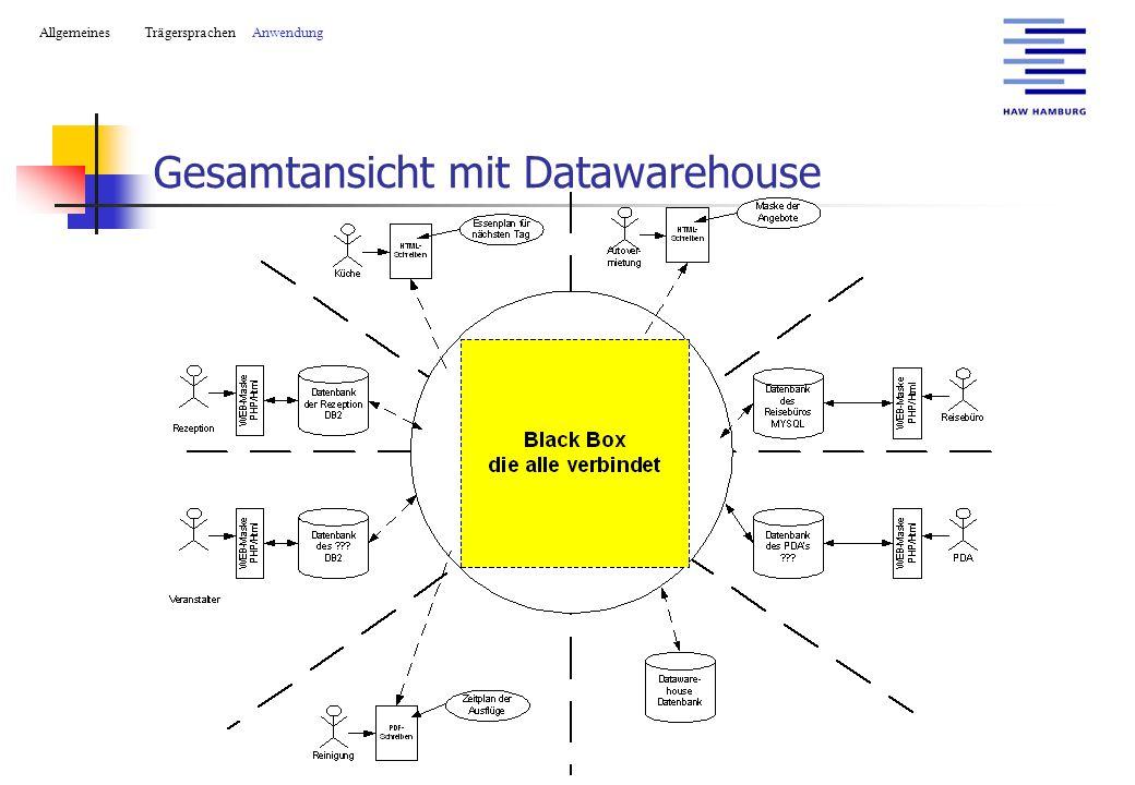 Gesamtansicht mit Datawarehouse AllgemeinesTrägersprachen Anwendung