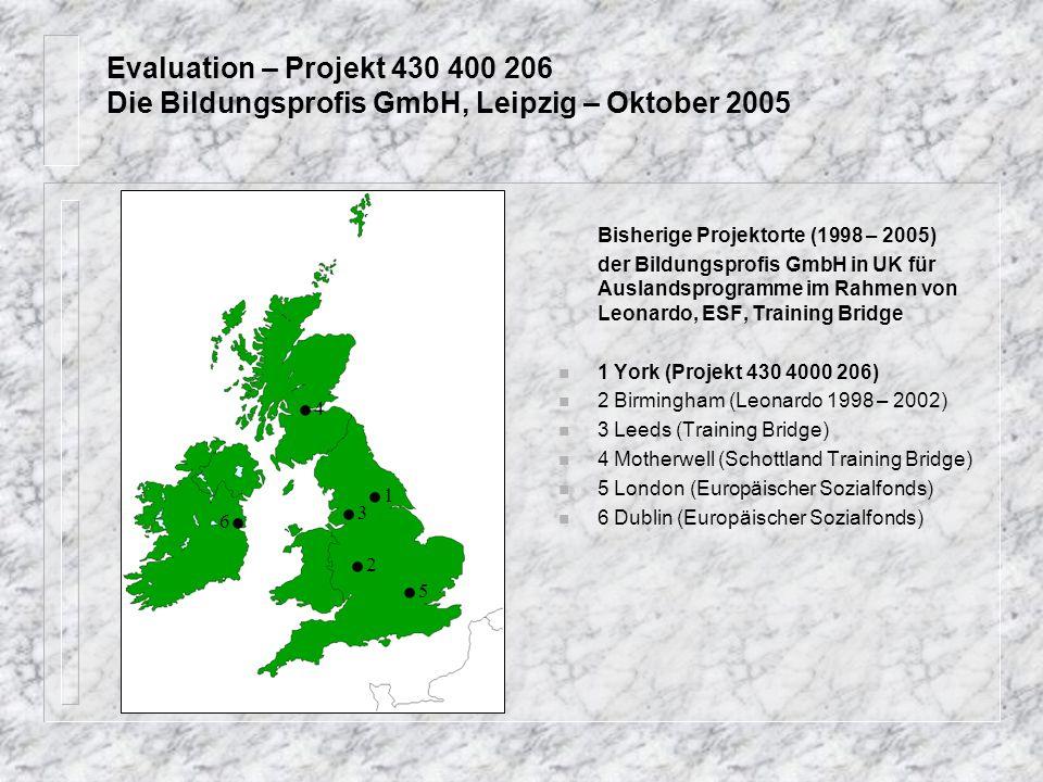 Evaluation – Projekt 430 400 206 Die Bildungsprofis GmbH, Leipzig – Oktober 2005 Bisherige Projektorte (1998 – 2005) der Bildungsprofis GmbH in UK für Auslandsprogramme im Rahmen von Leonardo, ESF, Training Bridge n 1 York (Projekt 430 4000 206) n 2 Birmingham (Leonardo 1998 – 2002) n 3 Leeds (Training Bridge) n 4 Motherwell (Schottland Training Bridge) n 5 London (Europäischer Sozialfonds) 6 Dublin (Europäischer Sozialfonds).1.1.3.3.5.5.2.2.4.4 6.6.