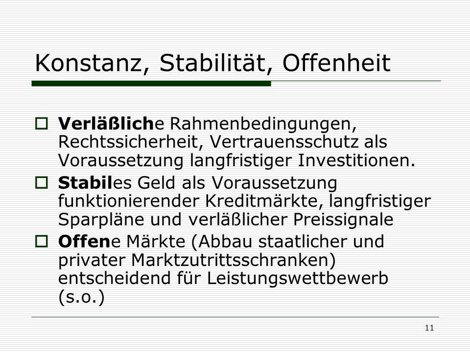 11 Konstanz, Stabilität, Offenheit  Verläßliche Rahmenbedingungen, Rechtssicherheit, Vertrauensschutz als Voraussetzung langfristiger Investitionen.
