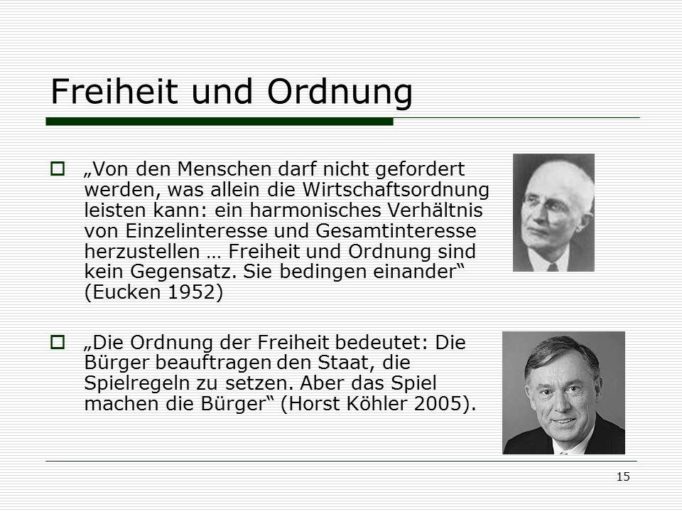 """15 Freiheit und Ordnung  """"Von den Menschen darf nicht gefordert werden, was allein die Wirtschaftsordnung leisten kann: ein harmonisches Verhältnis v"""